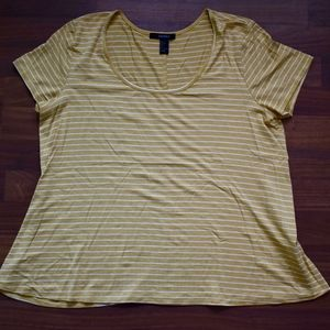 Forever 21 Mustard Yellow Striped Tee